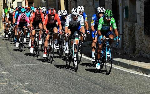 <span>Nairo Quintana rides on the front as the Colombian attempts to salvage his Vuelta</span> <span>Credit: Getty Images </span>