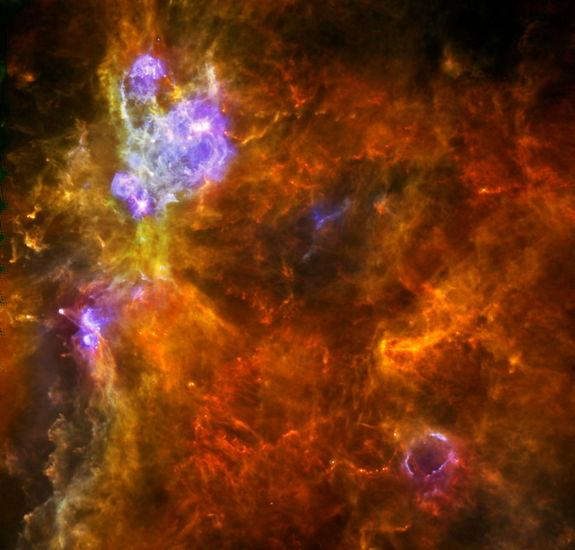 Cold dust emission in the giant cloud of gas and dust containing Westerhout 3. Image released March 27, 2013.