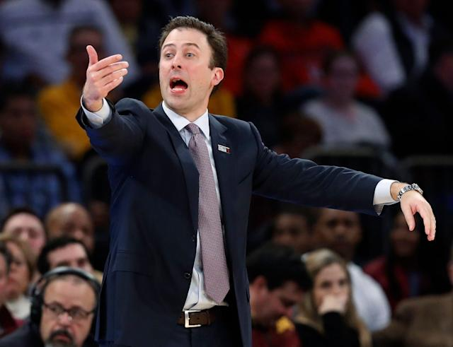 Richard Pitino has the added bonus of answering questions about his dad while preparing for the NCAA tournament. (AP)