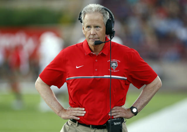 The University of New Mexico suspended Bob Davie on Thursday, Feb. 8, 2018, for 30 days without pay, following multiple investigations that examined whether he and coaching staff interfered with criminal investigations or misconduct cases involving players. (AP Photo/Andres Leighton, File)