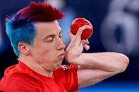 Britain's David Smith competes with Argentina's Mauricio Ibarbure in the boccia individual BC1 class during the Tokyo 2020 Paralympic Games at Ariake Gymnastics Centre in Tokyo on August 29, 2021. (AFP/Behrouz MEHRI)
