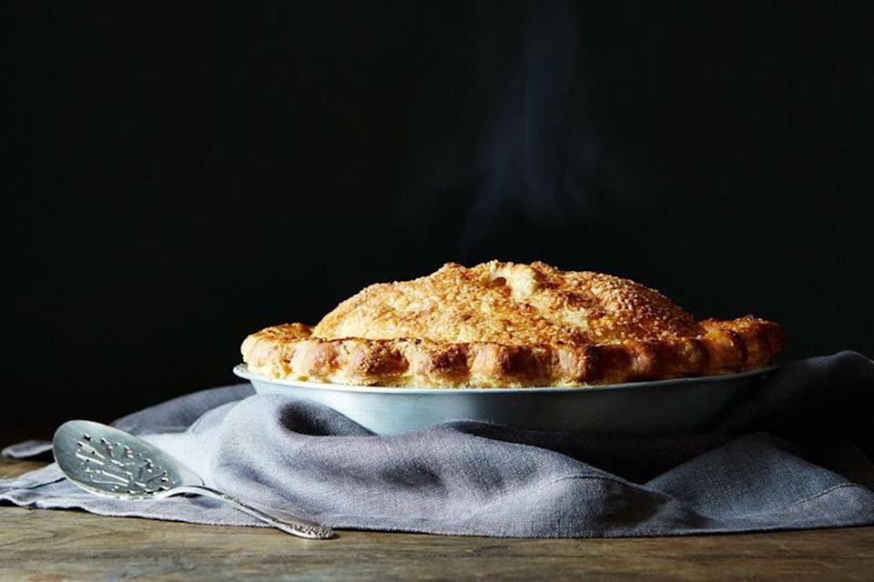 """<p>What happens when apple cider becomes a pie? It's really, really good. The filling is tart, but has a rich creaminess to it, because it's finished with butter. <a href=""""https://food52.com/recipes/31911-cider-caramel-apple-pie"""" rel=""""nofollow noopener"""" target=""""_blank"""" data-ylk=""""slk:Get the Food52 Cider Caramel Apple Pie recipe here."""" class=""""link rapid-noclick-resp""""><b>Get the Food52 Cider Caramel Apple Pie recipe here</b>.</a> (<i>Photo: Mark Weinberg/Food52)</i></p>"""
