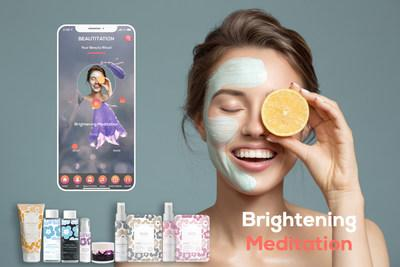 The newly launched WellBeauty products from Eewee Production. Nabia skincare line(Bottom) and a screenshot of skincare meditation app BEAUTITATION(Top)