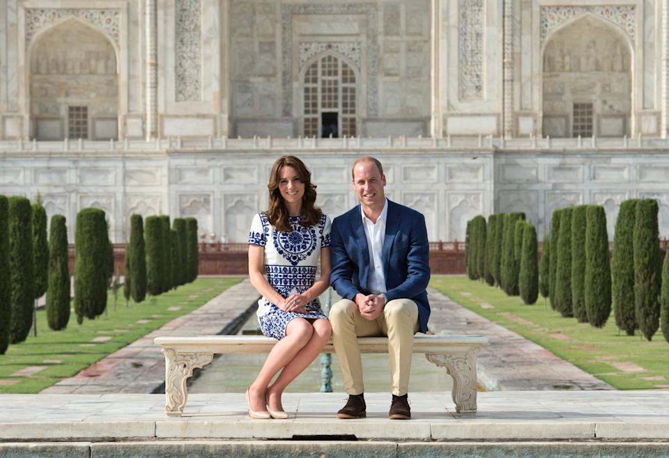 <p>With Kate in front of the Taj Mahal on 16 April 2016 in Agra, India. The same place had been the setting for an iconic photo of his mother Diana. (Samir Hussein/WireImage)</p>
