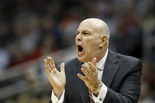 Virginia Tech coach Seth Greenberg reacts to play during the first half of an NCAA college basketball game against Clemson in the first round of the Atlantic Coast Conference men's tournament, Thursday, March 8, 2012, in Atlanta. (AP Photo/John Bazemore)