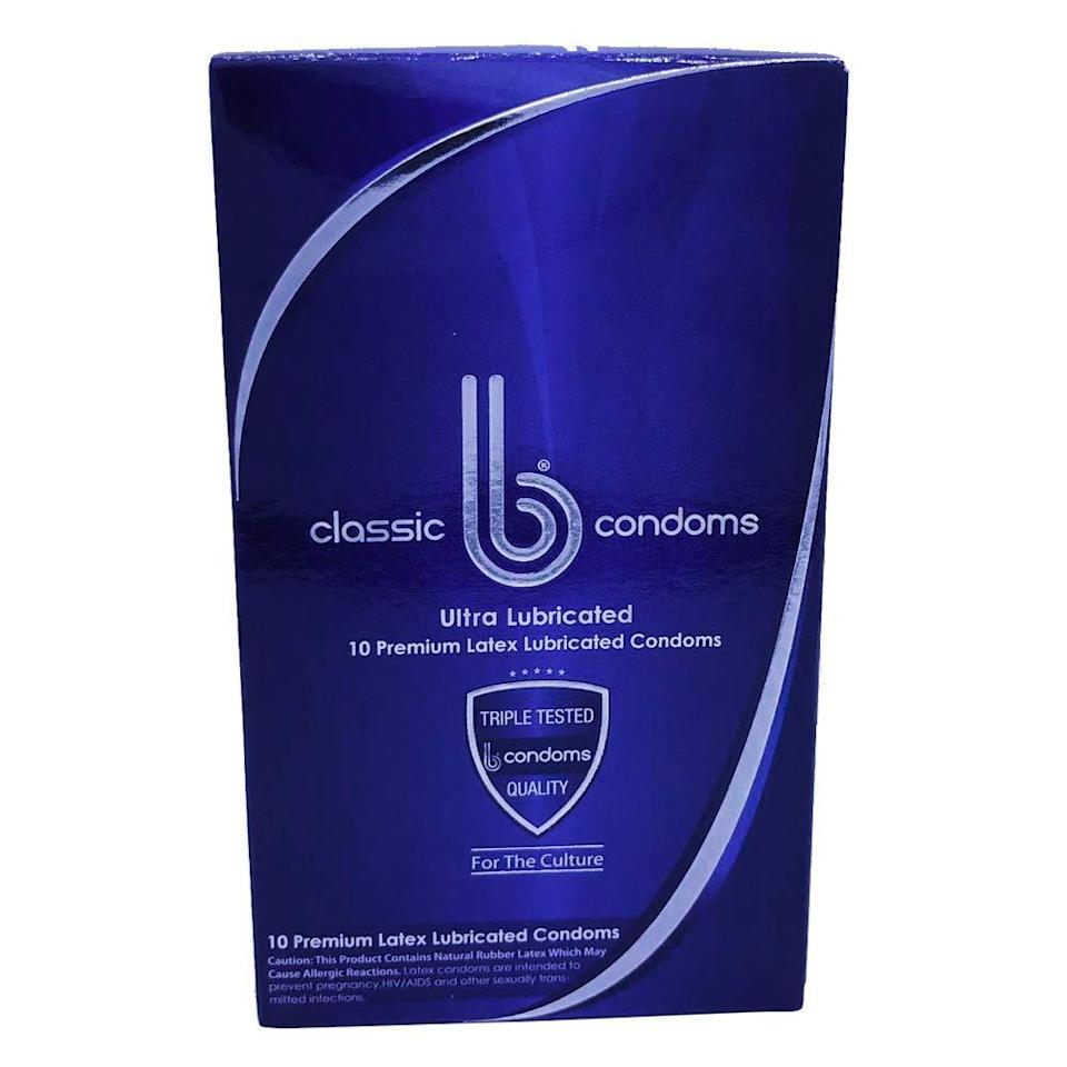 """<h3>B Condoms</h3> <br>Safe sex is always a turn-on. These premium latex condoms (skip if you have an allergy) are triple-tested to ensure that they're not going to break or tear mid-use and are lubricated for extra-smooth action.<br><br><strong>B Condoms</strong> Classic Best Premium FIT Thin Ultra Lubricated Latex Co, $, available at <a href=""""https://amzn.to/3af6PYj"""" rel=""""nofollow noopener"""" target=""""_blank"""" data-ylk=""""slk:Amazon"""" class=""""link rapid-noclick-resp"""">Amazon</a><br>"""