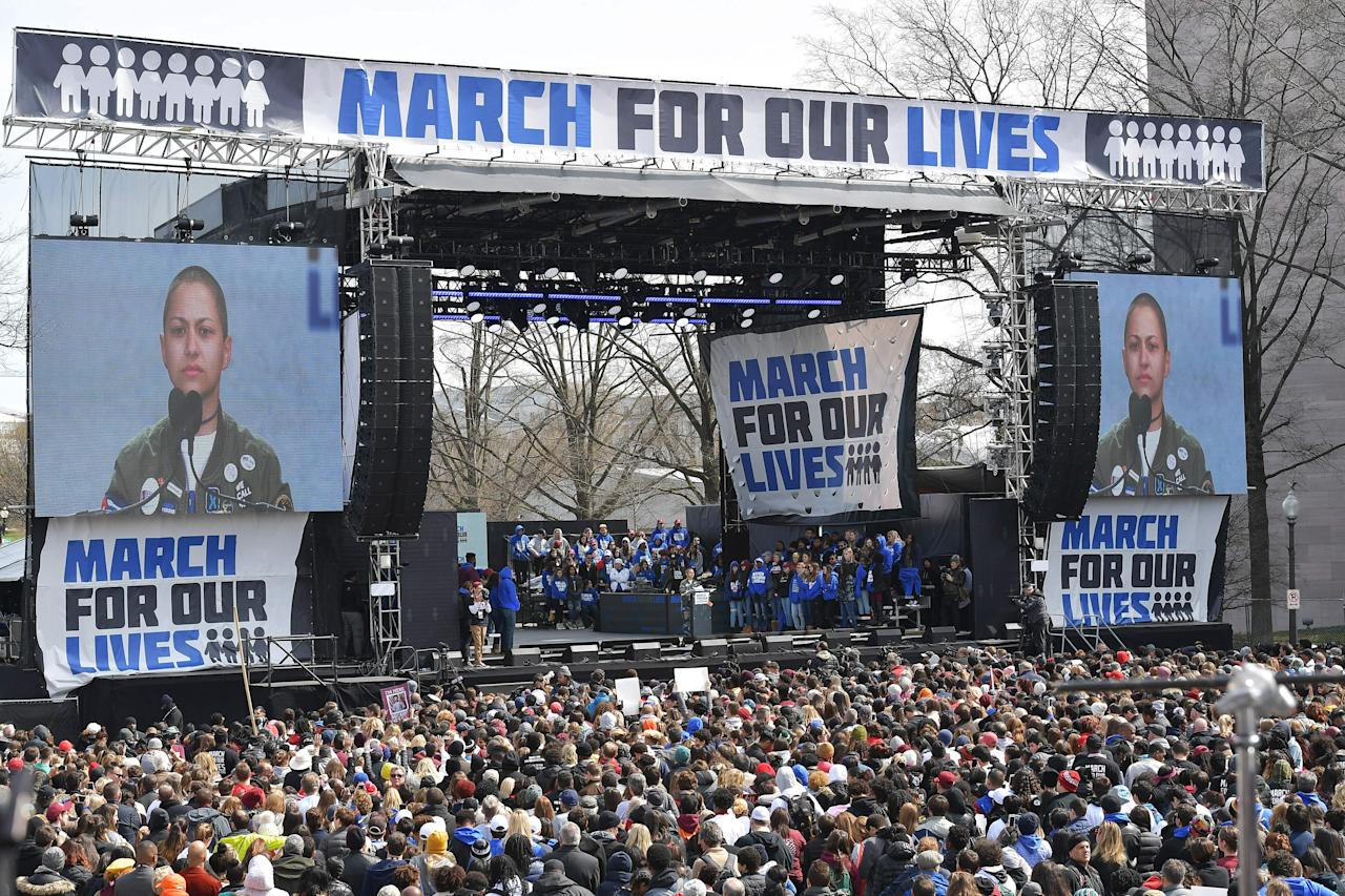 <p>Marjory Stoneman Douglas High School student Emma Gonzalez pauses as she speaks during the March for Our Lives Rally in Washington, DC on March 24, 2018. (Mandel Ngan/AFP/Getty Images) </p>