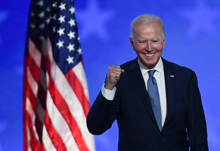 Democratic presidential candidate Joe Biden at an election night rally in Wilmington, Delaware