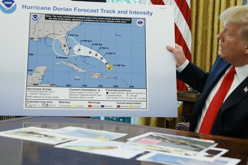 The president said he knew nothing about any hand-written additions to the map: AP