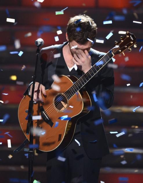 Winner Phillip Phillips performs onstage during Fox's 'American Idol 2012' results show at Nokia Theatre L.A. Live on May 23, 2012 -- Getty Images