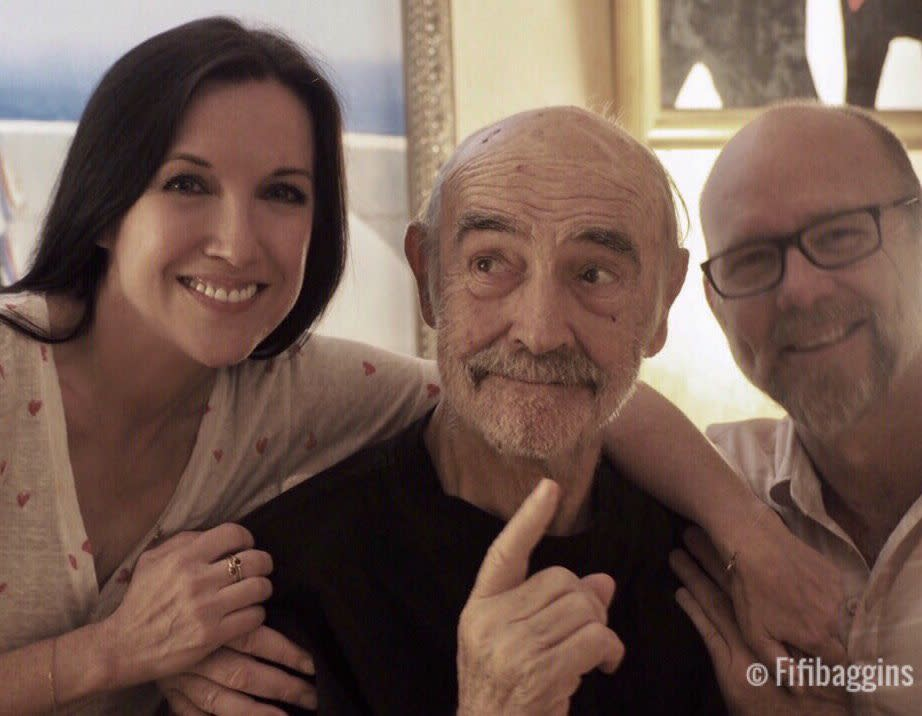 Sean Connery smiles with his son Jason and his partner Fiona Upton, last year in what is believed to be the last photo of the acting legend. Source: Twitter/@fifibaggins