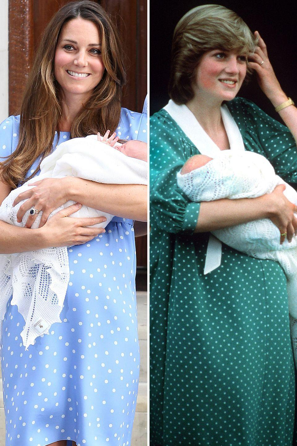 """<p>As <a href=""""https://www.townandcountrymag.com/society/tradition/a19674665/kate-middleton-post-birth-appearance-differences-comparison/"""" rel=""""nofollow noopener"""" target=""""_blank"""" data-ylk=""""slk:Town & Country"""" class=""""link rapid-noclick-resp""""><em>Town & Country</em></a> points out, the billowy dress was very similar to the one Diana wore when leaving the hospital with Prince William 30 years earlier. Aww!</p>"""