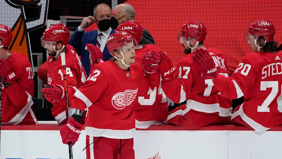 Detroit Red Wings center Vladislav Namestnikov (92) celebrates his goal against the Chicago Blackhawks in the first period of an NHL hockey game Monday, Feb. 15, 2021, in Detroit.
