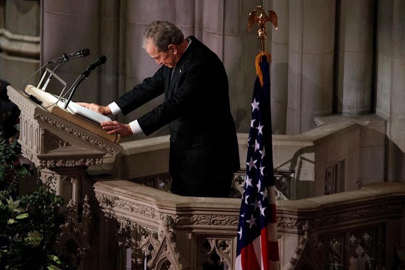 Former President George W. Bush fights back tears as he speaks during the state funeral for his father, former President George H.W. Bush, at the National Cathedral in Washington on Wednesday. (Photo: ASSOCIATED PRESS)