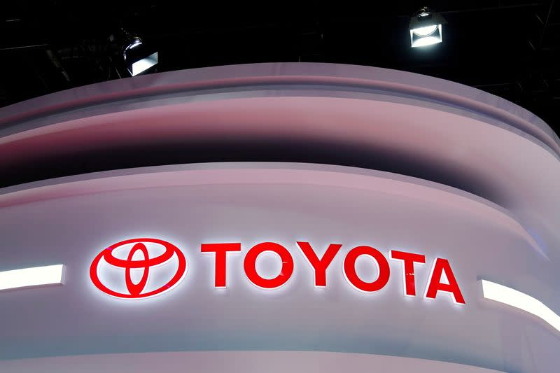 FILE PHOTO: The Toyota logo is seen at its booth during a media day for the Auto Shanghai show