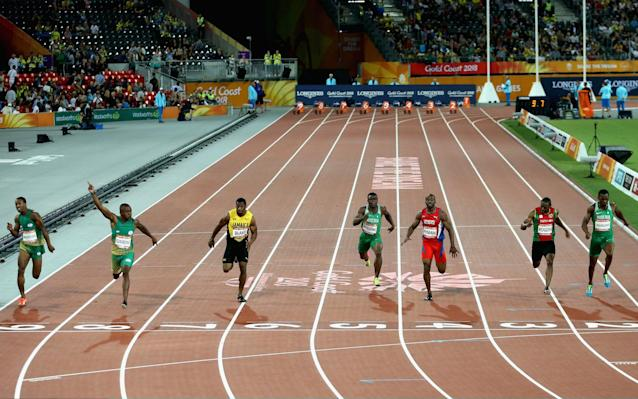 The Men's 100 metres final of the Gold Coast 2018 Commonwealth Games. More athletes have claimed asylum than at the London 2012 Olypmics - Getty Images AsiaPac