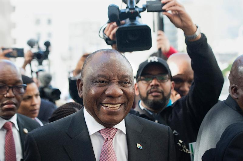 South African President Cyril Ramaphosa will be sworn in on Saturday after being re-elected by lawmakers (AFP Photo/RODGER BOSCH)