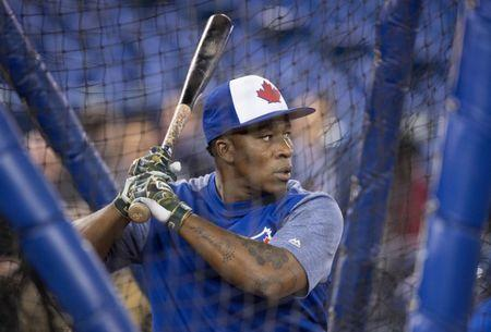 Mar 29, 2018; Toronto, Ontario, CAN; Toronto Blue Jays second baseman Gift Ngoepe (61) takes batting practice before the home opener against the New York Yankees at Rogers Centre. Mandatory Credit: Nick Turchiaro-USA TODAY Sports