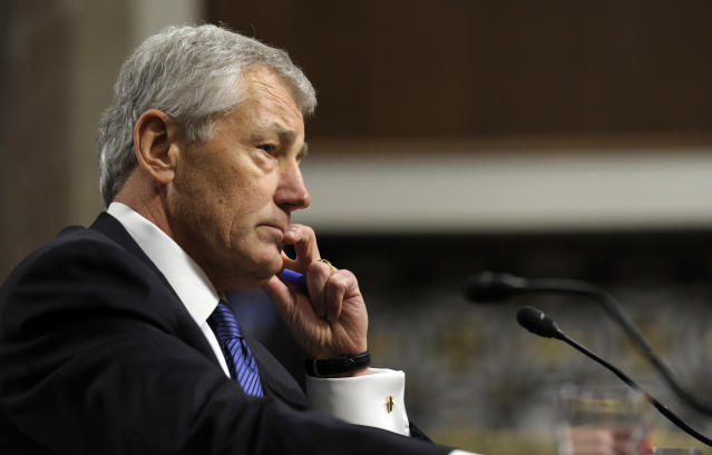FILE - In this Jan. 31, 2013 file photo, former Nebraska Republican Sen. Chuck Hagel, President Obama's choice for defense secretary, testifies before the Senate Armed Services Committee during his confirmation hearing on Capitol Hill in Washington. Hagel has lined up the necessary votes for the Senate to confirm him next week to be the nation's next defense secretary, after a senior Republican lawmaker said he will back President Barack Obama's choice. Barring any new developments, five-term Sen. Richard Shelby of Alabama said he would vote for his fellow Republican. (AP Photo/Susan Walsh, File)