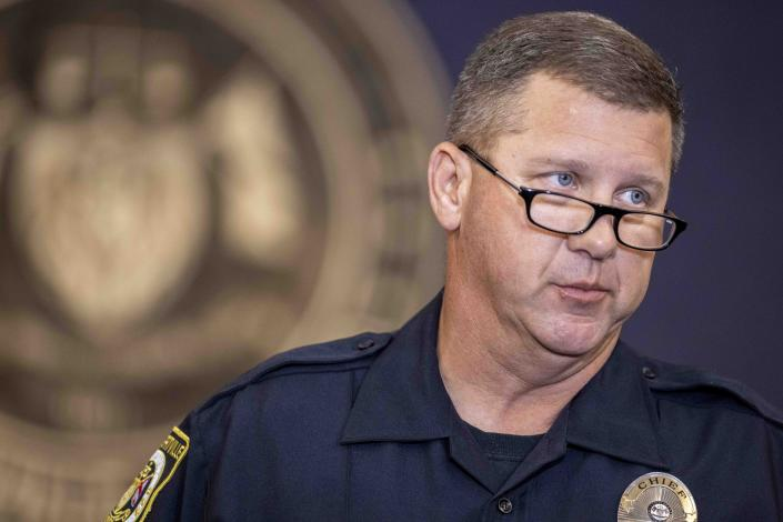 Albertville Police Chief Jamie Smith speaks during a news conference at Albertville City Hall, Tuesday, June 15, 2021, in Albertville, Ala., after a worker killed two people and wounded two more at a fire hydrant factory before killing himself. (AP Photo/Vasha Hunt)