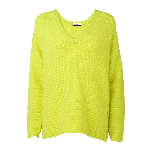 "<a target=""_blank"" href=""http://www.jaeger.co.uk/V-Neck Panelled Jumper/600185D,en_GB,pd.html?dwvar_600185D_color=01300""><b>V-Neck panelled jumper - £180 - Jaeger</b></a><br><br>Add a pop of colour to a simple look with this on-trend neon jumper."