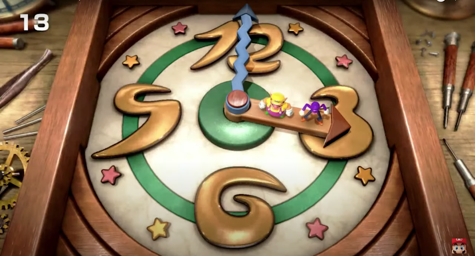 Wario and Waluigi ride on the hands of a big clock.