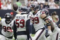 Houston Texans defensive end J.J. Watt (99) celebrates after he recovered a ball fumbled by Jacksonville Jaguars quarterback Gardner Minshew during the second half of an NFL football game Sunday, Sept. 15, 2019, in Houston. (AP Photo/David J. Phillip)