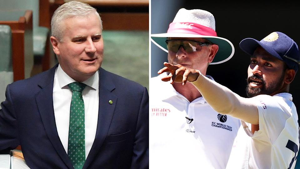 Acting PM Michael McCormack is pictured left, and Mohammed Siraj on the right.
