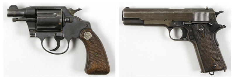 This pair of undated photos provided by RR Auction of Amherst, N.H., show firearms once owned by outlaws and lovers Clyde Barrow and Bonnie Parker. Parker's Colt .38 snub-nose detective special, left, was found taped to her inside thigh with white medical tape after she was shot dead. Barrow's Colt .45, right, was recovered post-mortem from his waistband. Besides guns from both 1930s-era criminals, a New Hampshire company is going to auction off Bonnie and Clyde memorabilia in September that also includes Bonnie's cosmetic case, Clyde's gold pocket watch, and a letter Clyde wrote to his brother while on the run. (AP Photo/RR Auction)