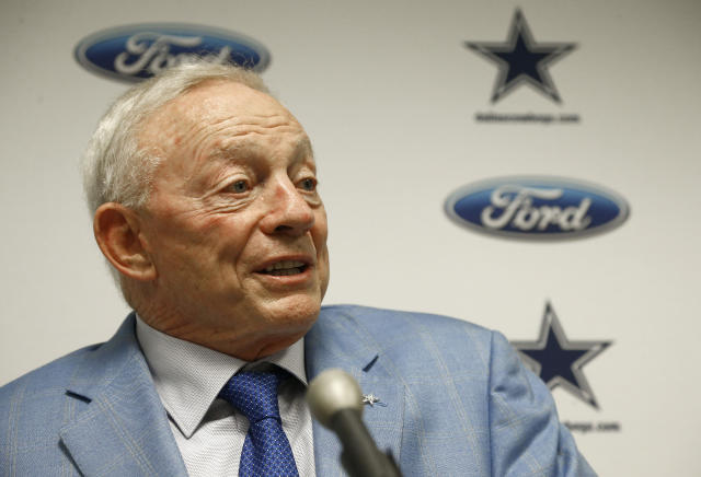 Jerry Jones, in New York on Tuesday for NFL meetings, got an earful from a protester. (AP)