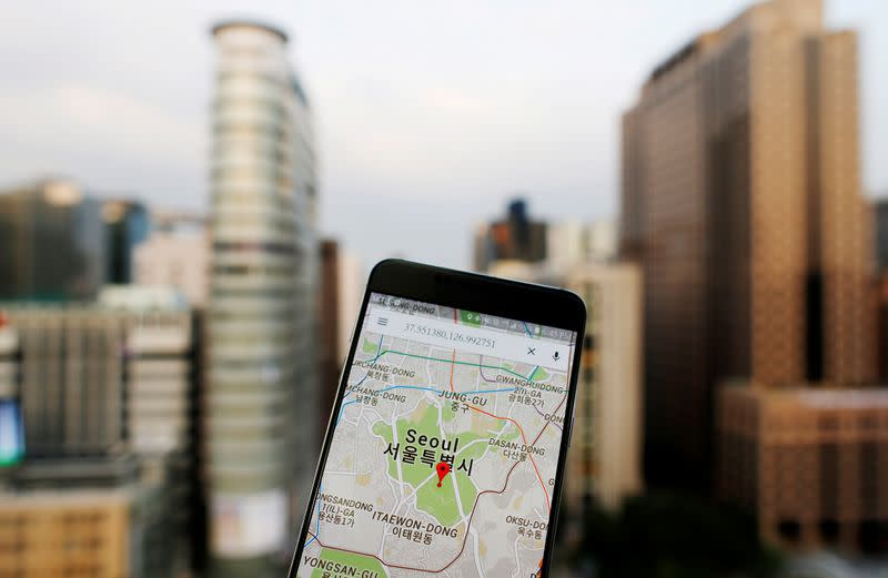 FILE PHOTO: A photo illustration shows Google Maps application displayed on a smartphone in Seoul