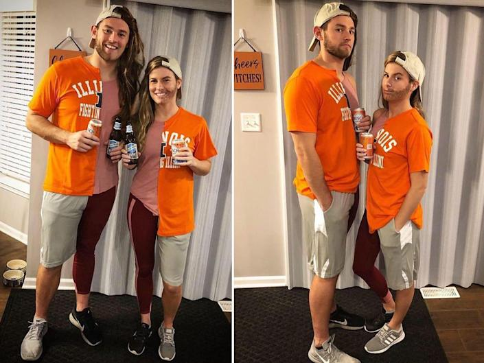 """A couple dressed as each other's """"better half"""" pose for a photo."""