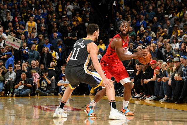 Chris Paul dominated Klay Thompson and the Warriors on Saturday night. (Getty)