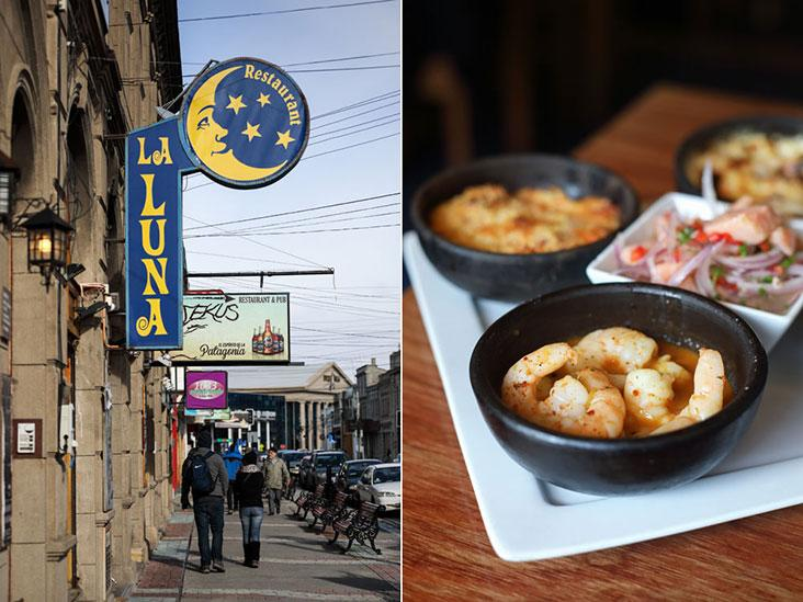 Drop by La Luna — visible from the street thanks to its crescent and stars logo – and enjoy Chilean delights such as spicy baked shrimps (front) and ceviche (centre).