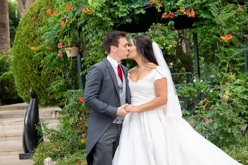 Marie Chevallier and Louis Ducruet after the religious wedding, at the Palais of Monaco.