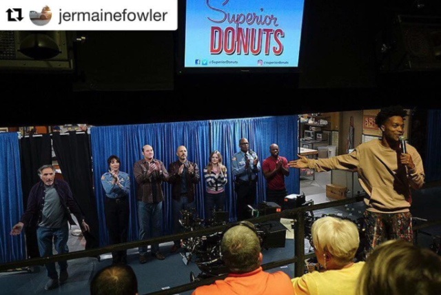 <p>#Repost @jermainefowler:<br> TOMORROW I'll be taking over the @yahootv account and posting some cool behind the scenes photos from #superiordonuts in celebration for our finale next Monday!!!<br> Here's one from the mural episode aka my favorite episode.<br> (Photo: YahooTV via Instagram) </p>