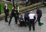 <p>Islamist terrorist Khalid Masood drove a car at high speed into pedestrians walking on Westminster Bridge. Four pedestrians were killed, as well as Pc Keith Palmer, who was stabbed by Masood. (Pic: PA) </p>