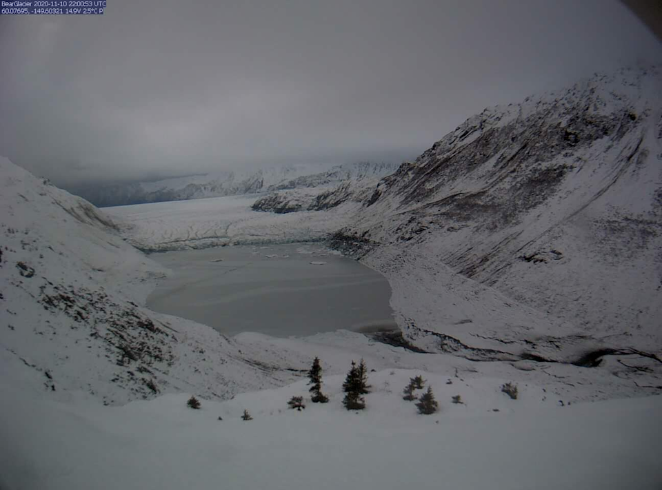 The lake above Bear Glacier, pictured here on November 10, began to drain, in what is almost a yearly event. Source: Kenai Fjords National Park/Facebook