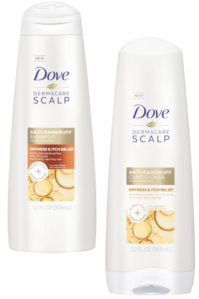 "<p>If your skin is dry, there's a good chance your scalp is, too. This quenching blend of coconut and shea butter soothes flaky patches after just one use.</p><p><strong>Dove</strong> Dryness & Itch Relief Shampoo & Conditioner, $5 each, <a rel=""nofollow"" href=""http://www.dove.com/us/en/hair-care/shampoo/dryness-_-itch-relief-anti-dandruff-shampoo.html?gclid=CKKrpYSk29ICFZqEswodDMIFnQ&gclsrc=aw.ds"">dove.com</a>.</p>"