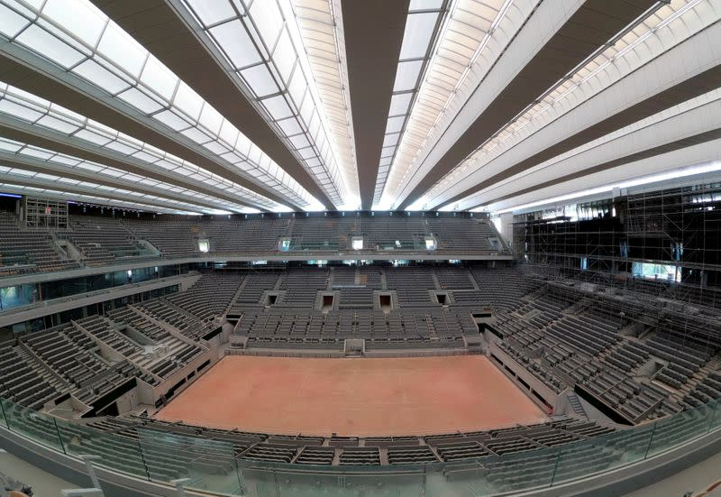 FILE PHOTO: Renovated Philippe-Chatrier central tennis court at Roland-Garros in Paris