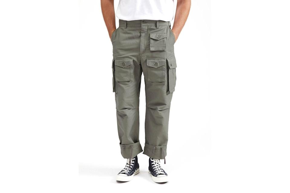 """$425, M5. <a href=""""https://m5shop.nyc/collections/new-arrivals-1/products/fa-pant-cotton-double-cloth-olive?variant=32465875271740"""" rel=""""nofollow noopener"""" target=""""_blank"""" data-ylk=""""slk:Get it now!"""" class=""""link rapid-noclick-resp"""">Get it now!</a>"""