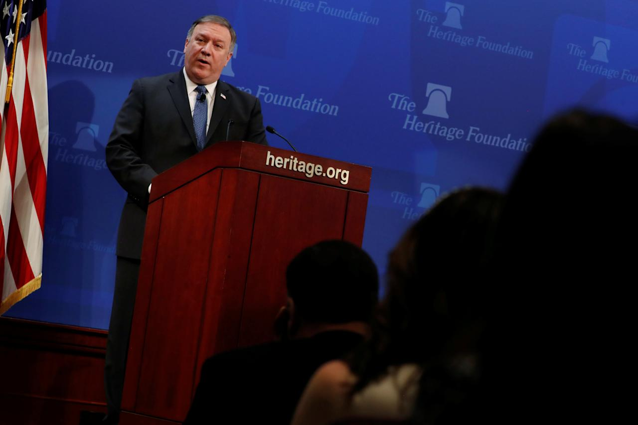 U.S. Secretary of State Mike Pompeo delivers remarks on the Trump administration's Iran policy at the Heritage Foundation in Washington, U.S. May 21, 2018.  REUTERS/Jonathan Ernst