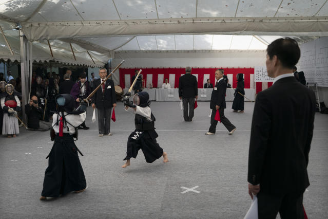 Elementary school students compete during a kendo competition at the Hie Shrine in Tokyo, June 8, 2019.(AP Photo/Jae C. Hong)