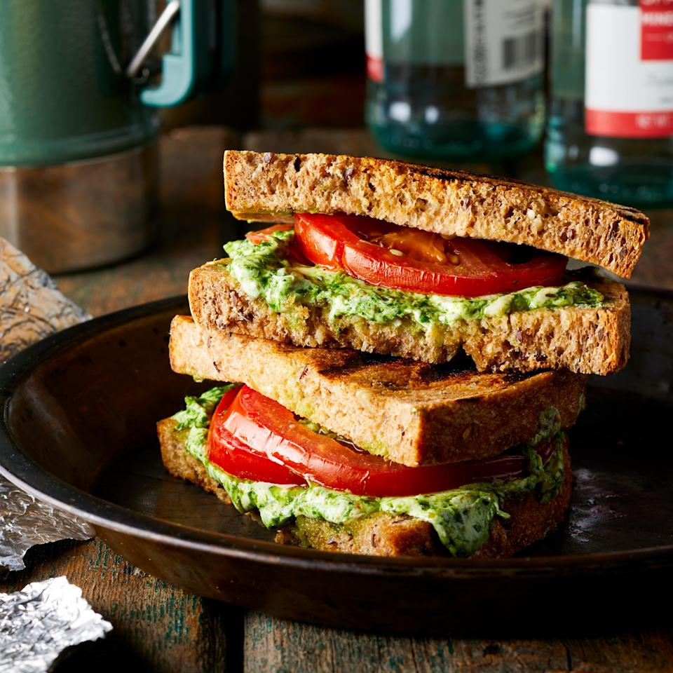 <p>A twist on a classic grilled cheese, this caprese sandwich adds pesto and tomato for a quick and simple campsite meal.</p>