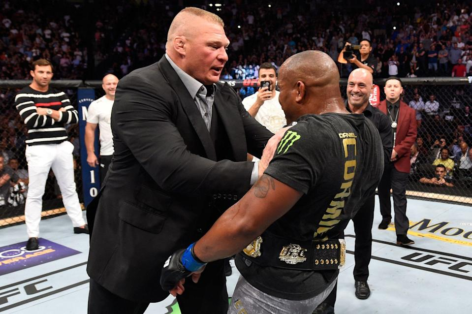 Brock Lesnar confronts Daniel Cormier after his UFC heavyweight championship fight during the UFC 226 event inside T-Mobile Arena on July 7, 2018 in Las Vegas, Nevada.