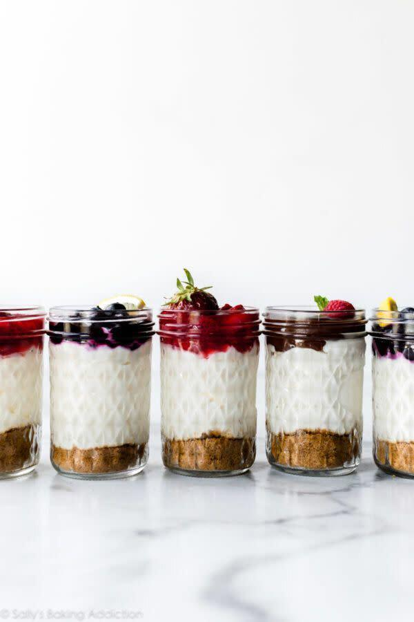 "<a href=""https://sallysbakingaddiction.com/no-bake-cheesecake-jars/"" rel=""nofollow noopener"" target=""_blank"" data-ylk=""slk:Get the No-Bake Cheesecake Jars recipe from Sally's Baking Addiction"" class=""link rapid-noclick-resp""><strong>Get the No-Bake Cheesecake Jars recipe from Sally's Baking Addiction</strong></a>"