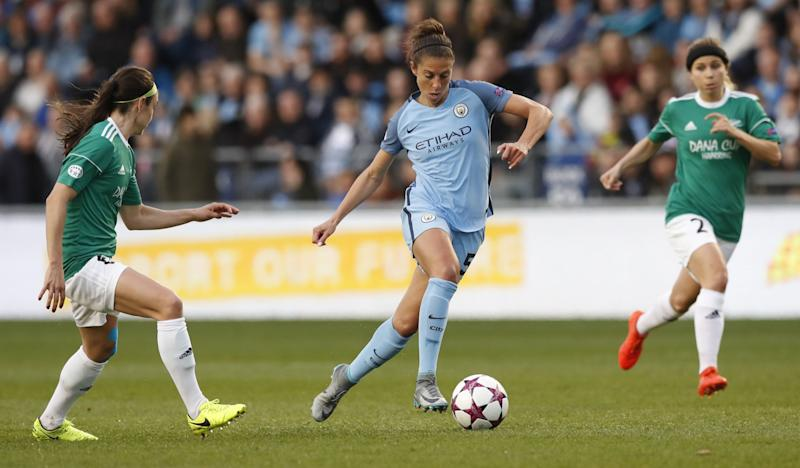 Manchester City Women's Carli Lloyd in action