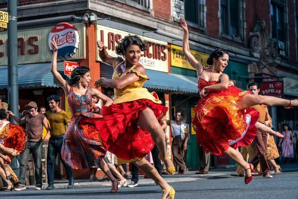 """As Anita, Ariana DeBose (center) dances to """"America"""" in Steven Spielberg's upcoming """"West Side Story."""""""