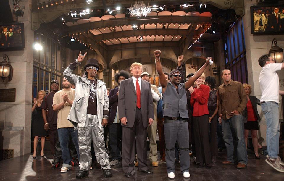 """Donald Trump's first time hosting """"Saturday Night Live"""" in 2004. Maya Rudolph, a cast member at the time, said she and her colleagues were not excited about his appearance. (Photo: Ellen Matthews/NBCU Photo Bank/NBCUniversal via Getty Images)"""