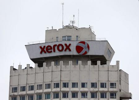 Logo of Xerox company is seen on building in Minsk